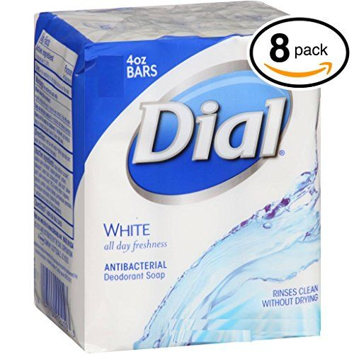 PACK OF 8 BARS Dial WHITE Antibacterial Bar Soap Round the Clock Odor Protection Leaves Skin Smooth  Radian HypoAllergenic Great for Hands Face  Body 8 Bars 4oz Each Bar * Want to know more, click on the image.(This is an Amazon affiliate link and I receive a commission for the sales)