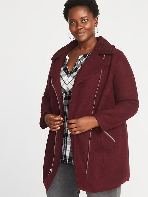 93aa199e4a28 Old Navy Women's Plus-Size Sherpa-Collar Long-Line Moto Jacket Reddy Or Not  Size 3X