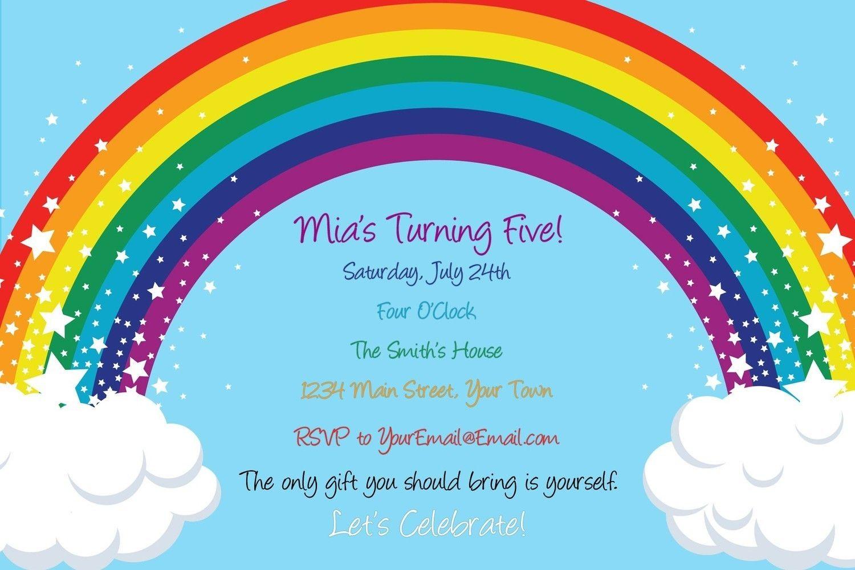 Rainbow and Stars Birthday Invitation - Digital File. $12.50, via ...