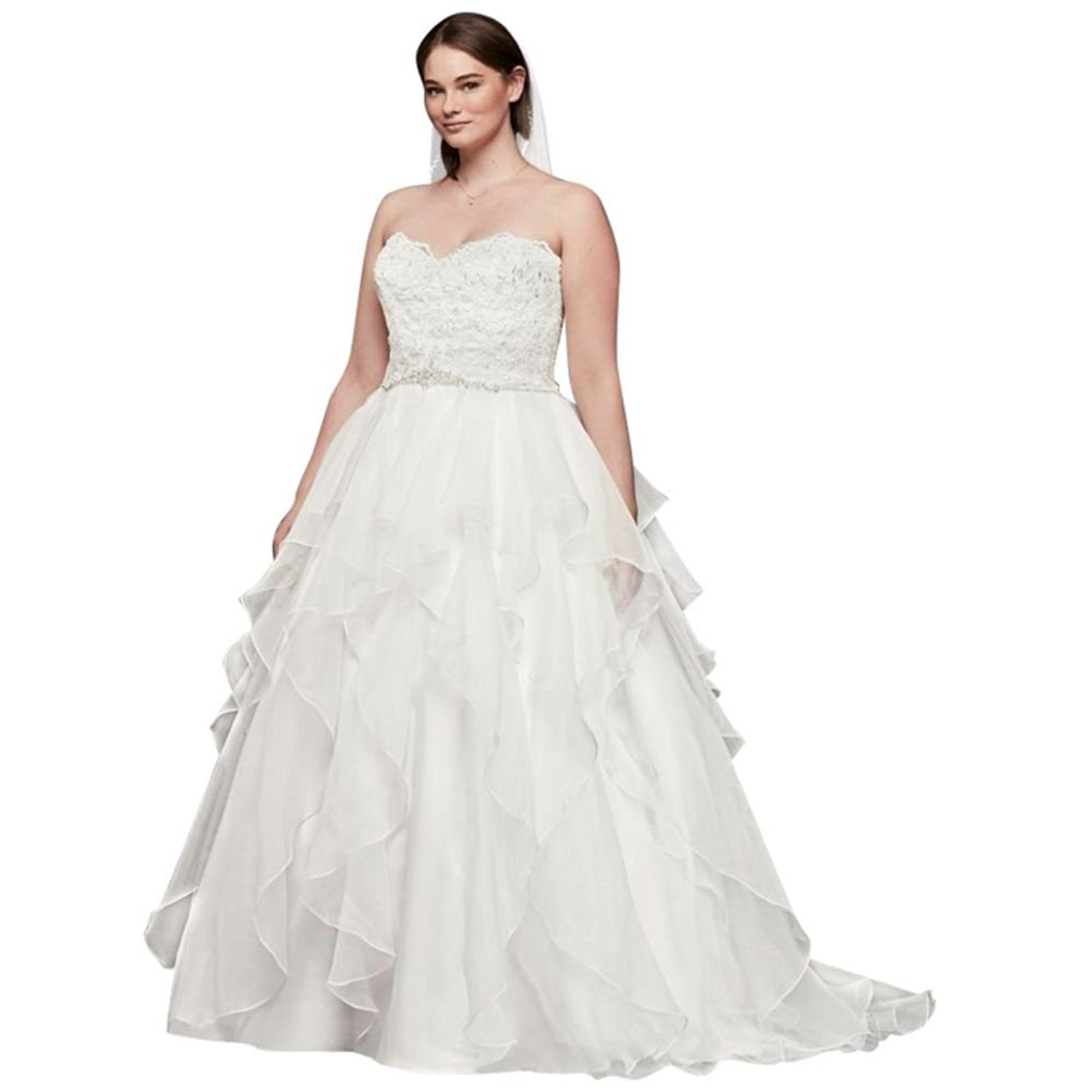 Lace and organza plus size ball gown wedding dress wedding dress
