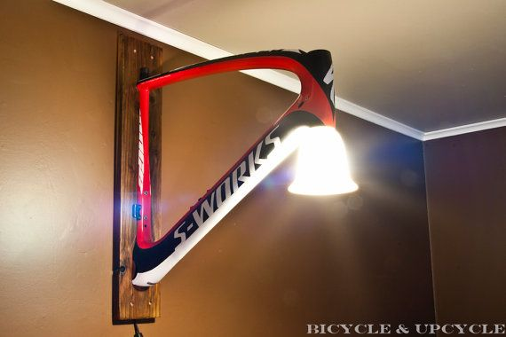 Unique handmade upcycled bike frame wall lamp. Recycled bike parts ...