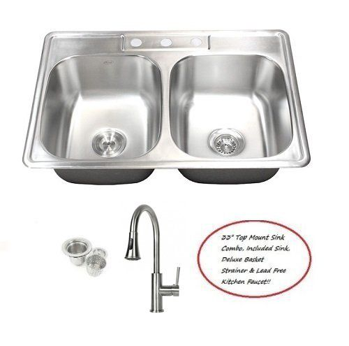 33 Inch Stainless Steel Top Mount Drop In 50 50 Double Bowl Kitchen Sink And Lead Free Faucet Combo 18 Gauge Double Bowl Kitchen Sink Sink Kitchen