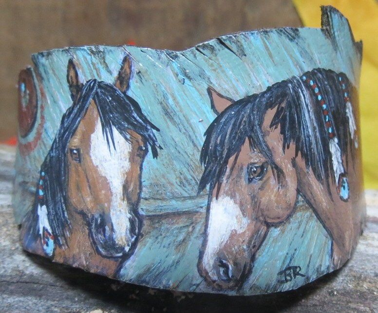 Hand painted native pinto horses art jewelry beaded memory wire ...