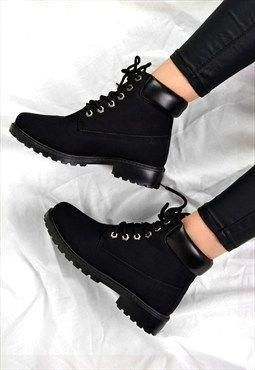 Emily Lace Up Flat Heel Grip Ankle Boots Black Ankle Black