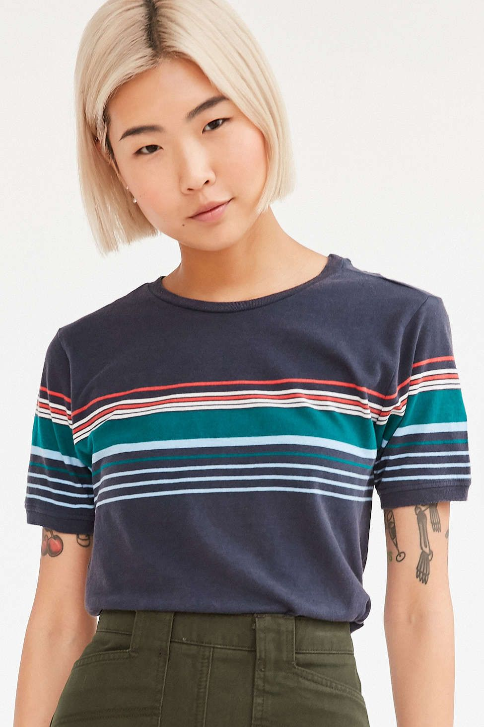 c728e0f389 BDG On The Cape Multi Stripe Tee #UrbanOutfitters Navy Blue T Shirt, Navy  Tees