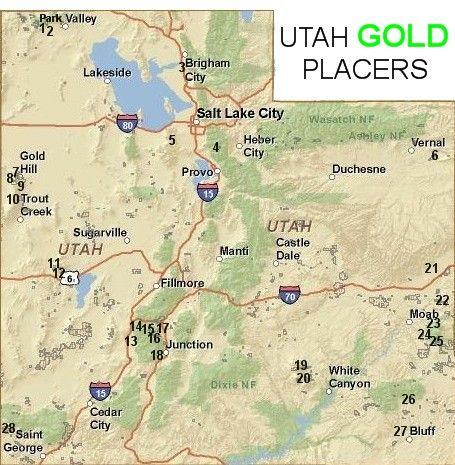 Utah Gold Placer Map Gold Panning Utah Local Gems Pinterest - Gold distribution map us