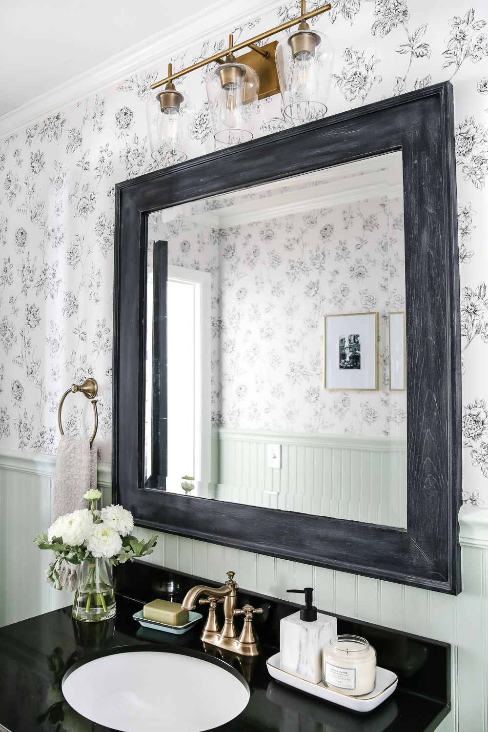 Dry Brushed Black Mirror Makeover Bloggers Best Diy Ideas