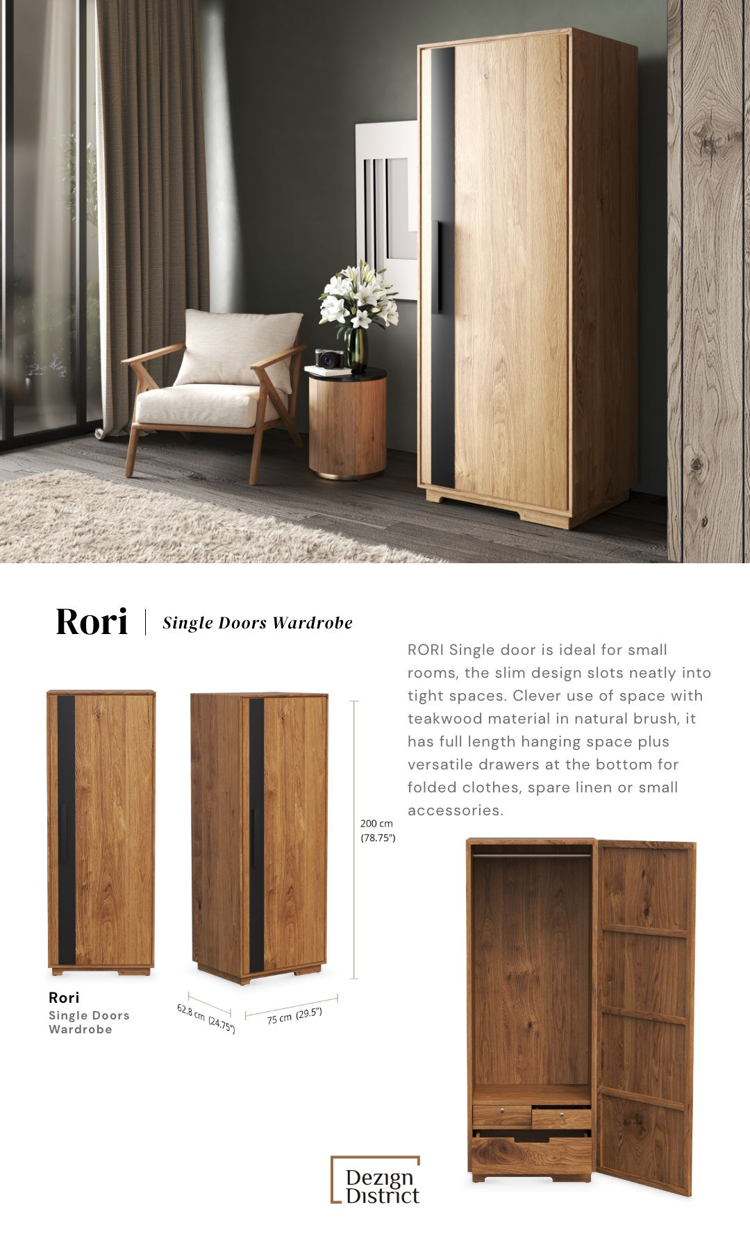 Rori Single Door Wardrobe In 2020 Single Door Wardrobe Single Doors Interior Styling