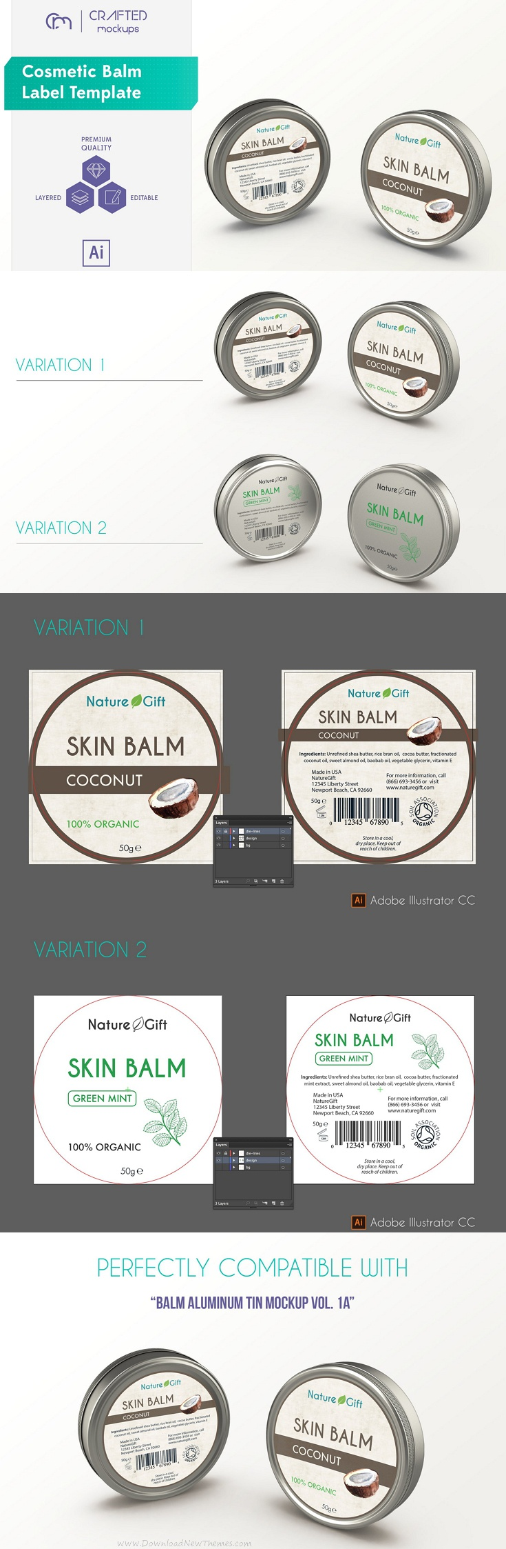 Cosmetic Balm #Label Template #mockup #graphics #design #free for ...