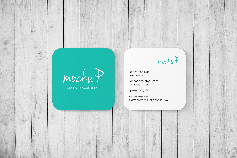 Square Business Card Mockup Kostenlos Mit Quadratischen