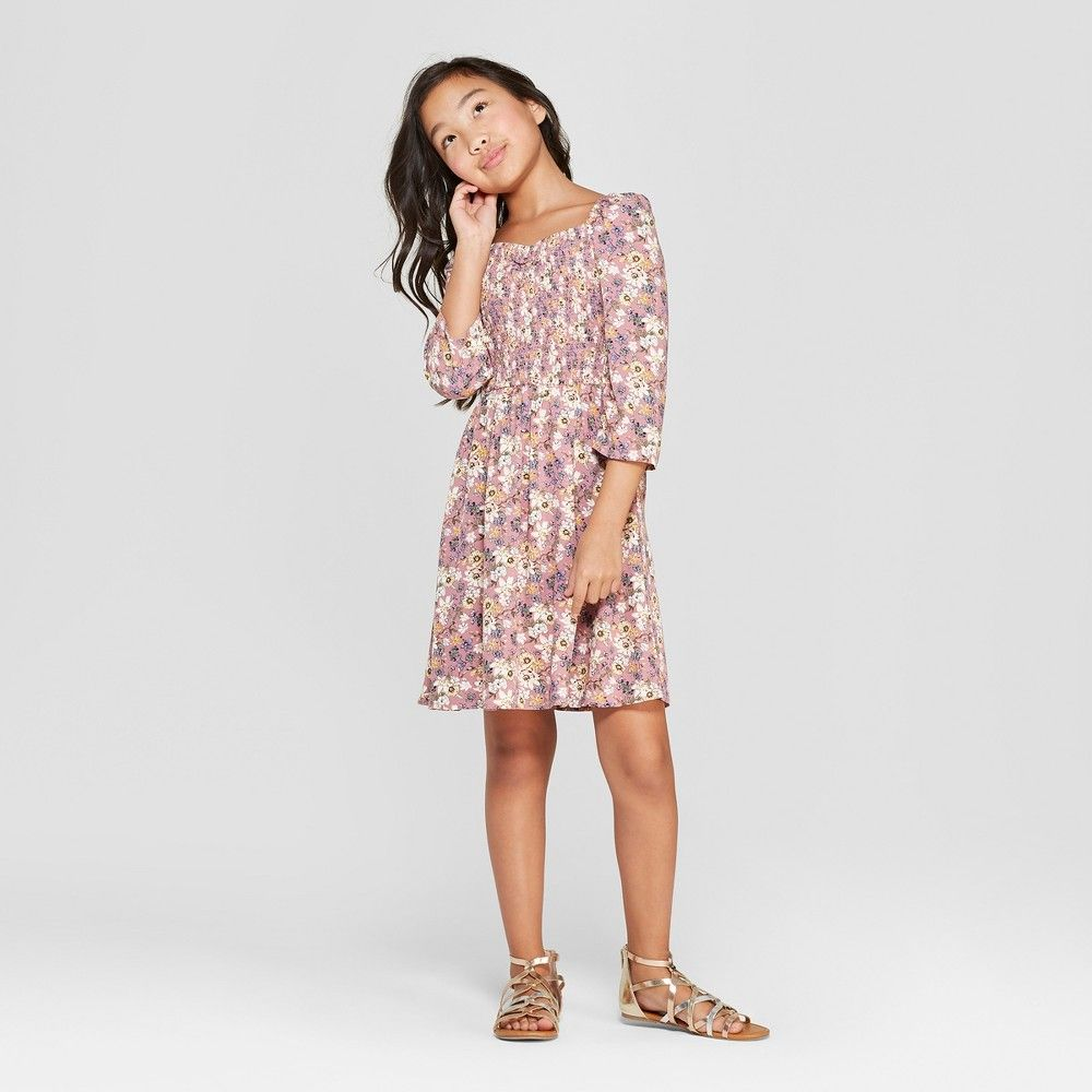f4edab3ee17a13 Girls' Floral Smocked Woven Dress - art class Rose XS, Pink in 2019 ...