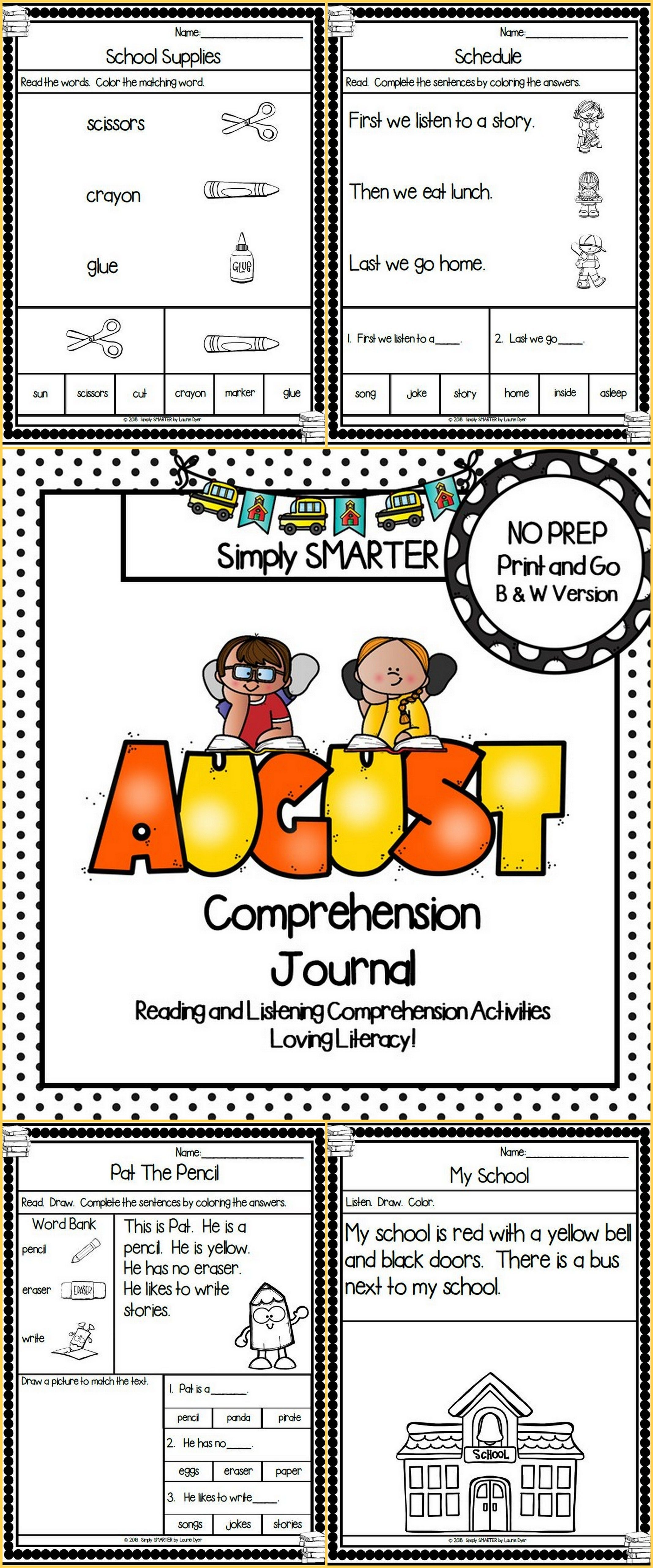 - August Comprehension Journal: Reading Comprehension Passages And