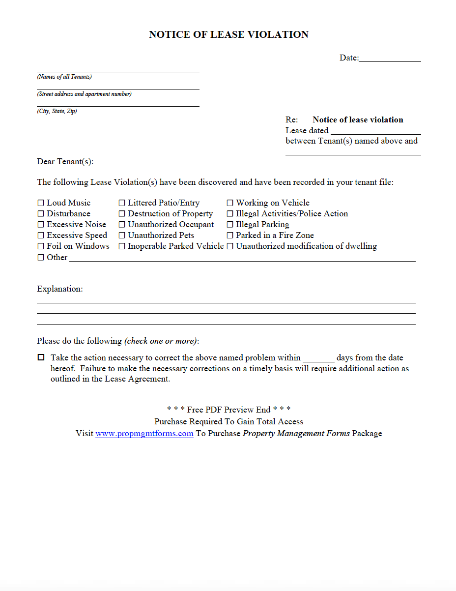NOTICE OF LEASE VIOLATION PDF | Property Management Forms in 2019