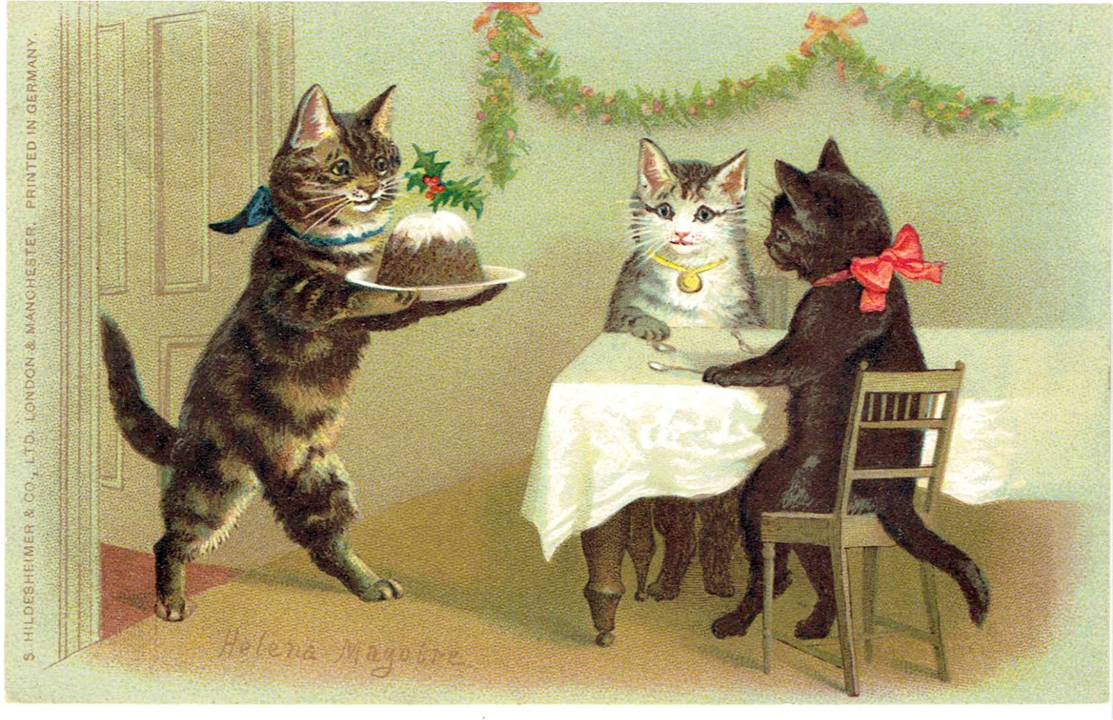 Pin by Eugene on クリスマス カード Cats, Cat art, Vintage cat