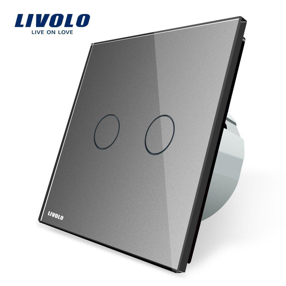 Livolo White Crystal Glass Switch Panel, EU Standard, 2 Gang 1 Way ...