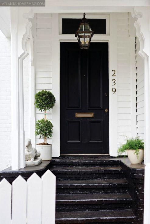Front Door Front Porch Cottage House Exterior Black Front Doors Front Door