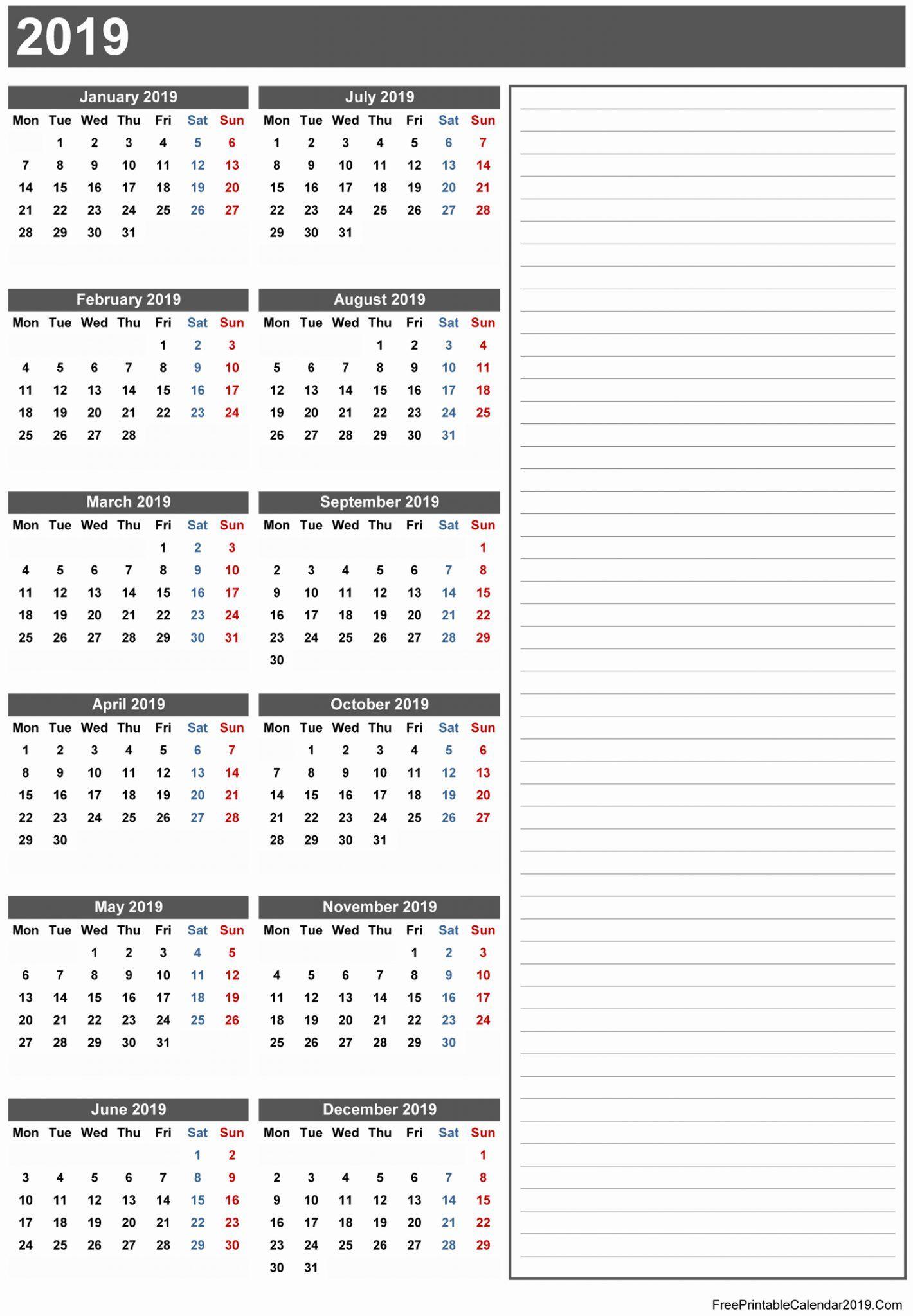 Free Printable Calendar 2019 with Holidays | Blank 12 ...