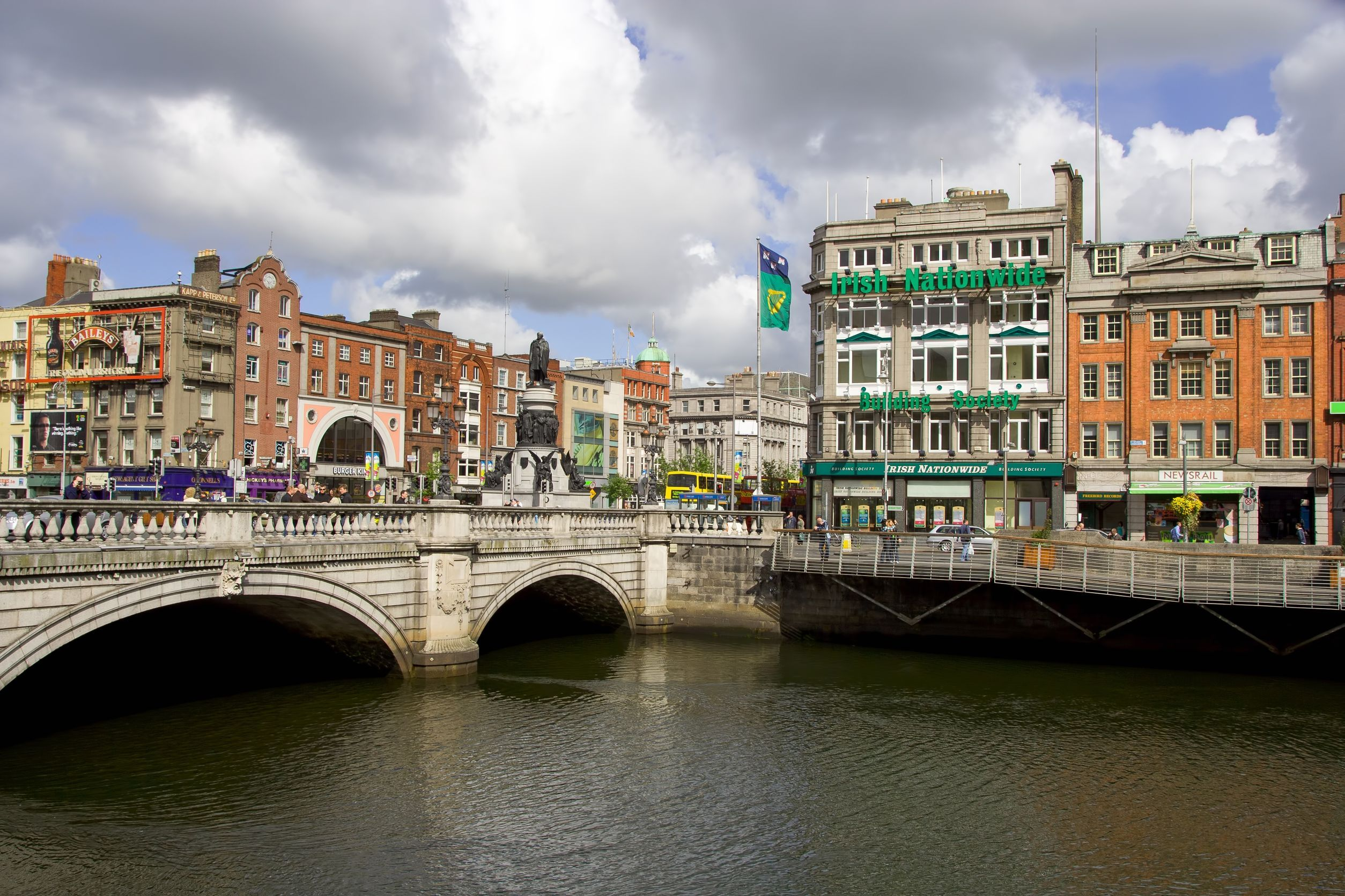 Dublin city center, O'Connel bridge and Liffey River in