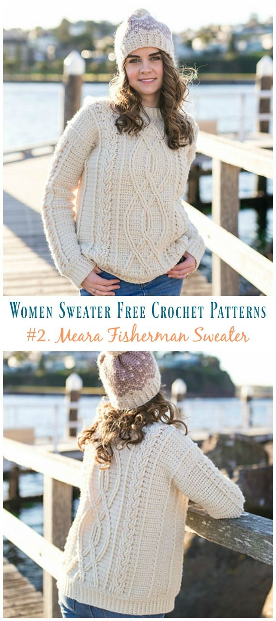 Meara Fisherman Cabled Sweater Crochet Free Pattern - Fall Winter Women Sweater #sweatercrochetpattern