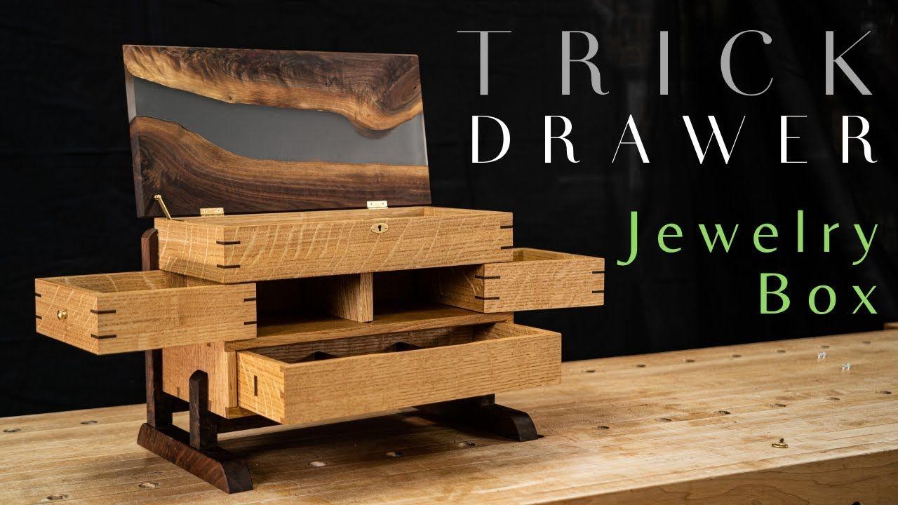 Secret Drawer Jewelry Box With Epoxy River Top Fine Woodworking Youtube Wood Jewelry Box Jewelry Box Plans Fine Woodworking