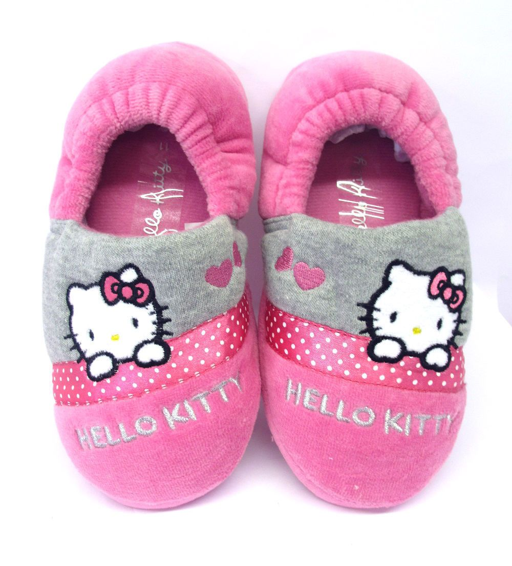e99e5d2ed Girls Persian Slippers Hello Kitty Pink Grey Girly Indoor Shoes Elasticated  Back