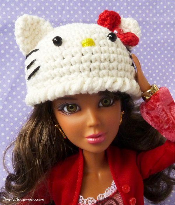 Hello Kitty hat crochet (free pattern) | Crochet barbie ...