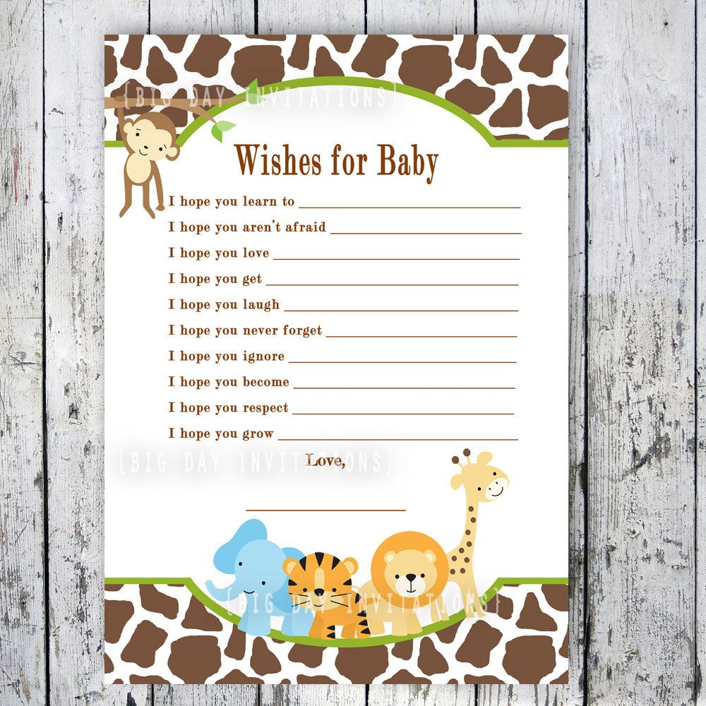 Safari Baby Shower Game   Wishes For Baby   Printable File   Matching  Invitation Available