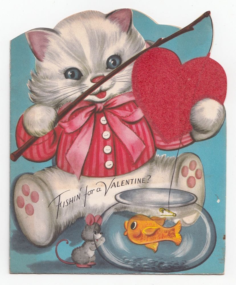 Vintage greeting card valentines cat mouse fishing goldfish fish vintage greeting card valentines cat mouse fishing goldfish fish bowl whitman kristyandbryce Choice Image