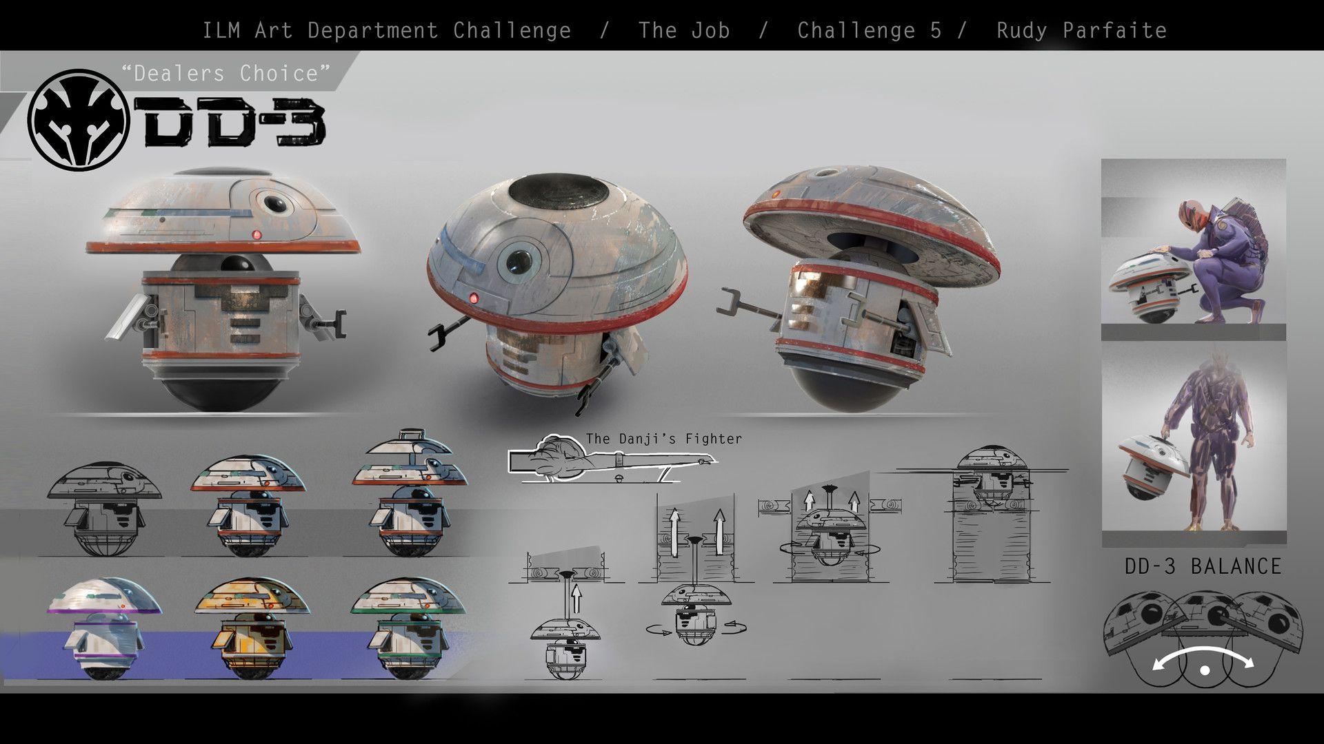 ArtStation - ILM Art Dept. Challenge - DD-3 design, Rudy Parfaite