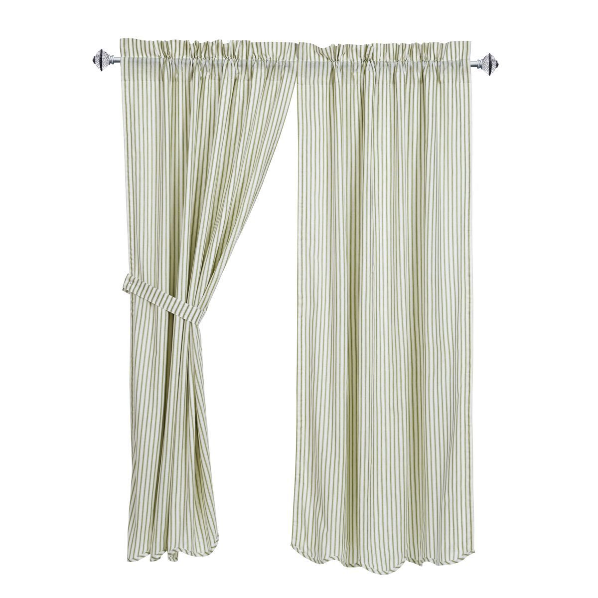New Country Cottage Chic White Sage Green Ticking Striped Curtain Panels 63 Ebay