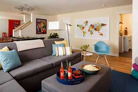 Colorful World Maps And Modern Corner Grey Sofa Sets In Small Mesmerizing Design Ideas For A Small Living Room Design Decoration