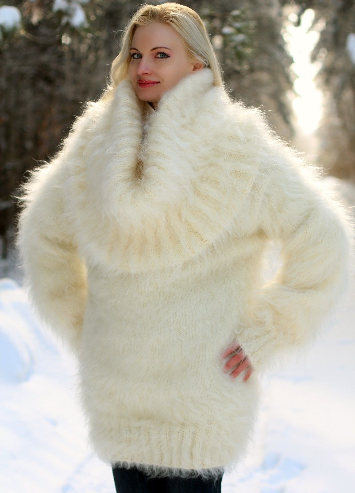 Ivory Hand Knitted Mohair Sweater Fuzzy Cowlneck Handmade Dress ...