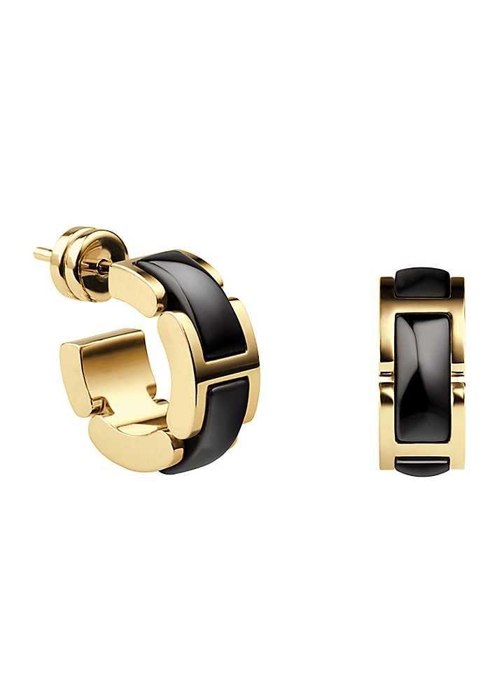 Bering Black Ceramic & Gold Earrings