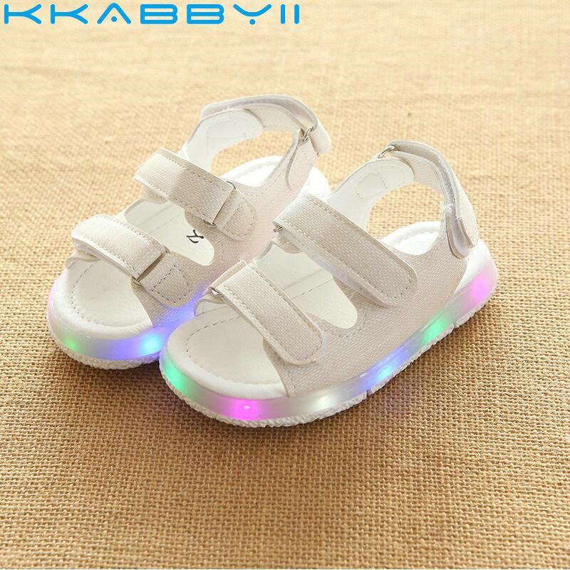 2018 Nueva Marca Brillante Sandalias De Los Ninos Zapatos De Ninos Ninas Bebe Plana Led Iluminaci Zapatos Para Ninas Zapatillas De Ninas Zapatos Para Bebe Nina
