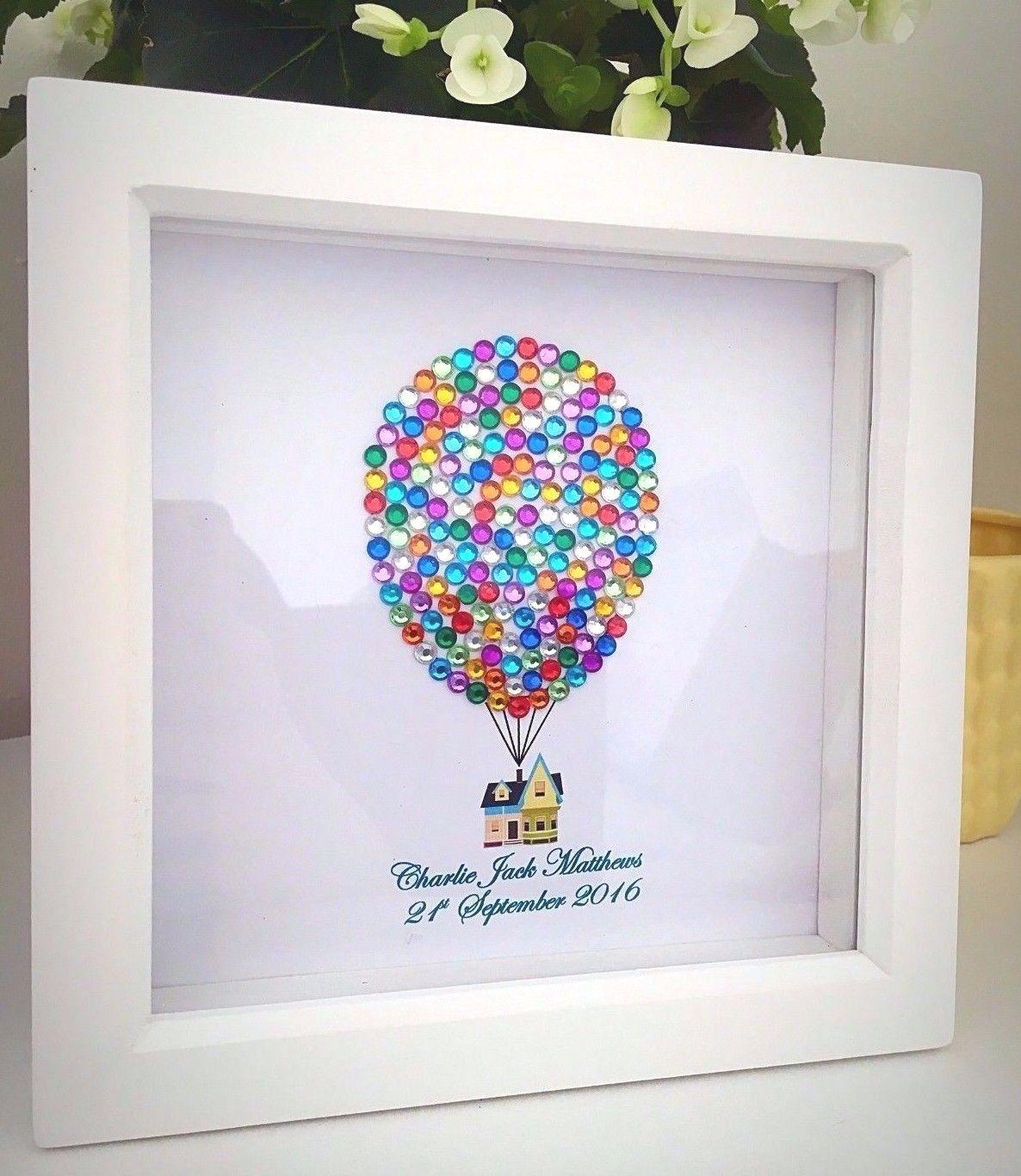 baby boygirl disney up balloon house box frame wall art
