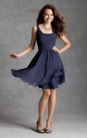 afa0024f25d8 Elegant Navy Short/Knee Length Bridesmaid Dress Online|KissyDress UK ...