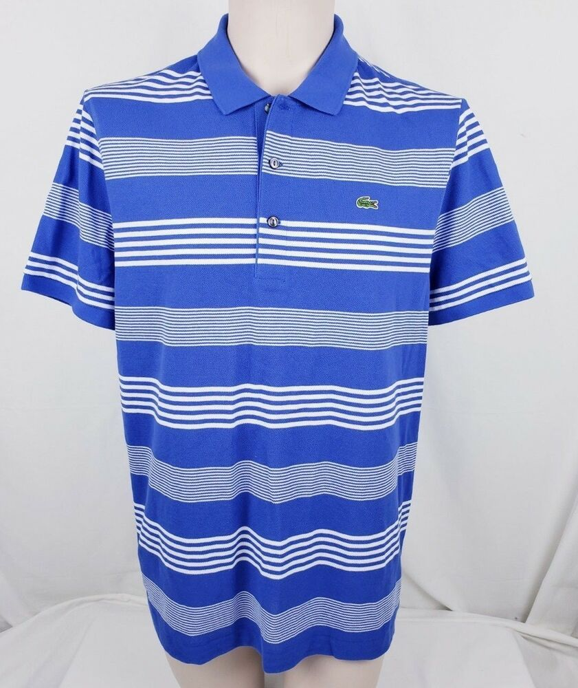 30da046e Lacoste Mens Short Sleeve Polo Shirt Size 6 Large Blue White Striped # Lacoste #PoloRugby