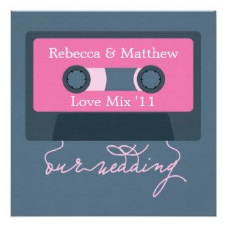 """Planning a fun 1980's theme wedding?  This invite from www.retroinvites.com will """"tape the cake""""."""