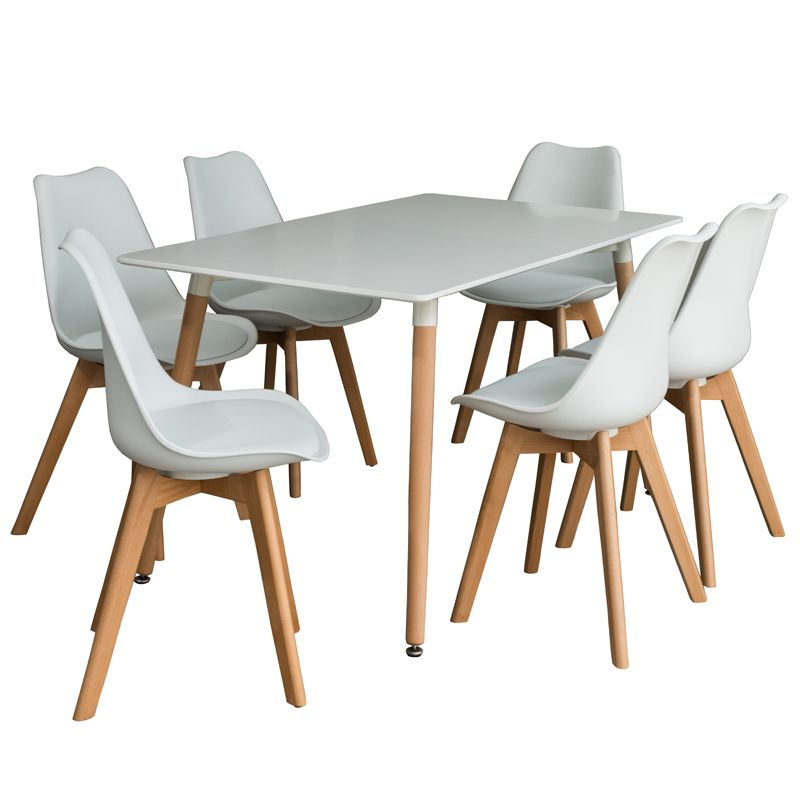 Emmy 140cm Dining Table 6x Emily Wooden Leg Chair