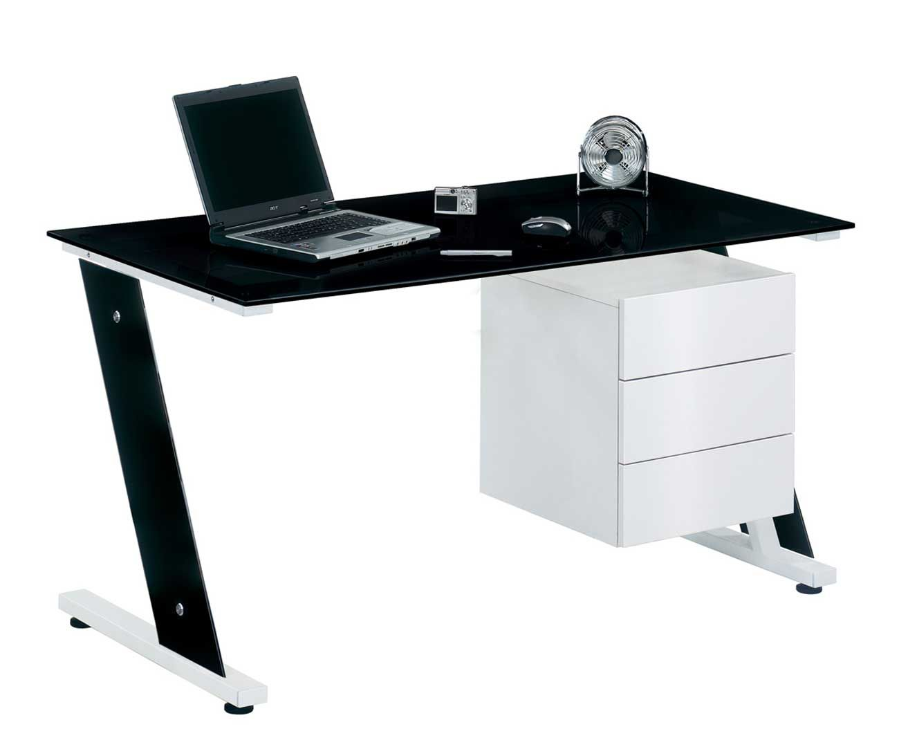 Office Orb Black Glass Desk With Cabinet Glass Desk Office