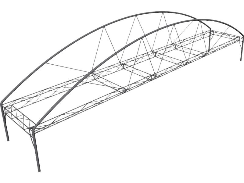 arched fink truss bridge  nurbs  3d model