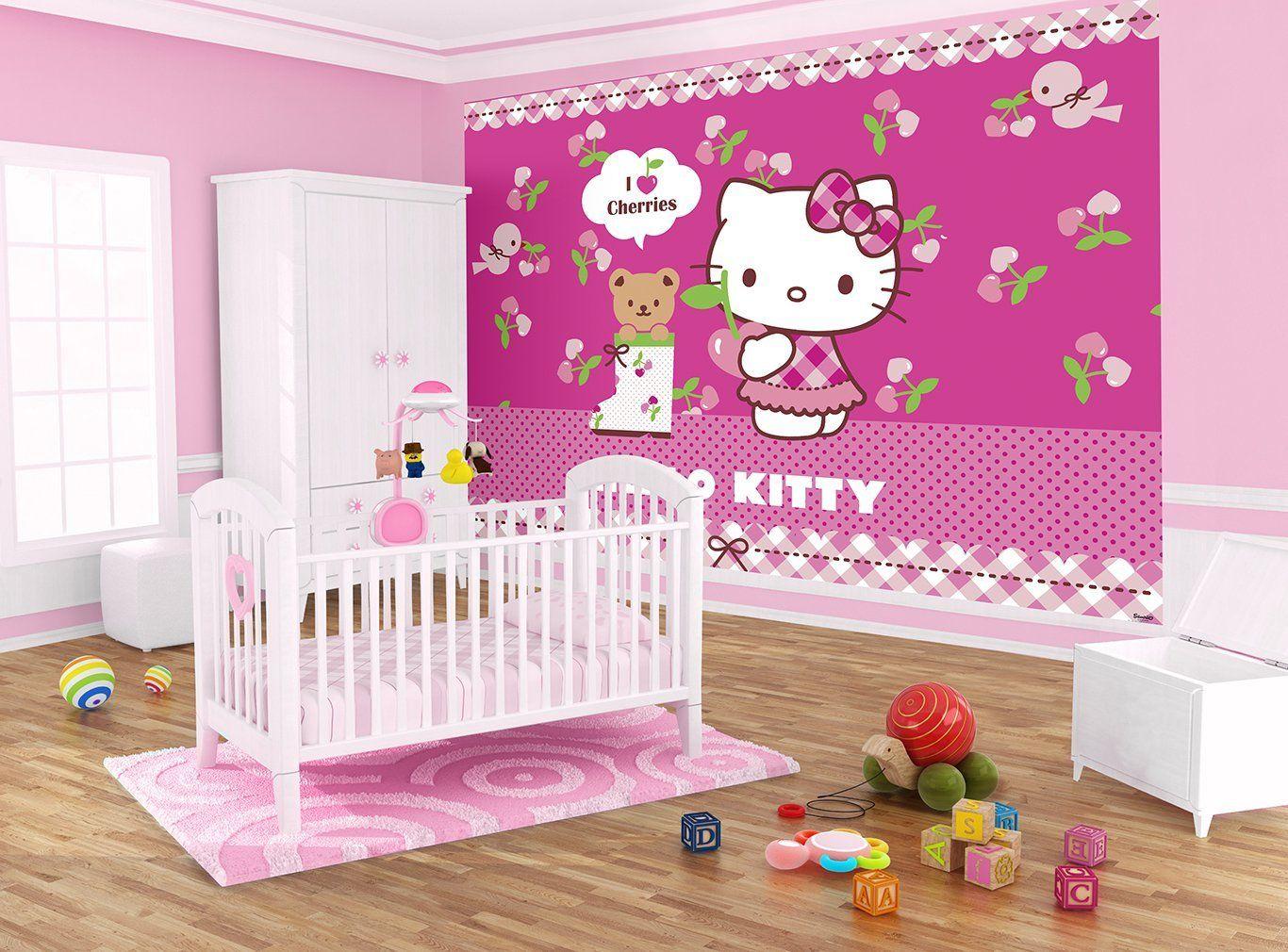 Beautiful Hello Kitty Mural | Hello Kitty Wall Mural Girl Kids Nursery Wallpaper  Decor Ideas Part 14
