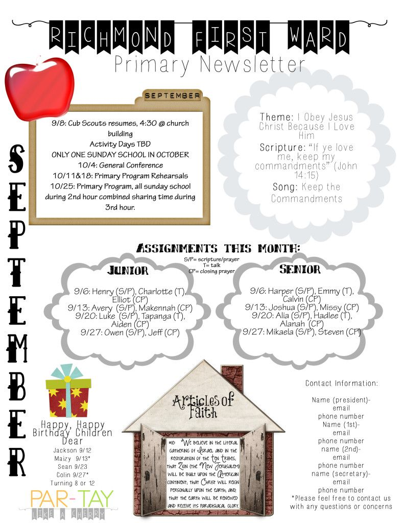primary newsletter template party like a cherry pinterest lds