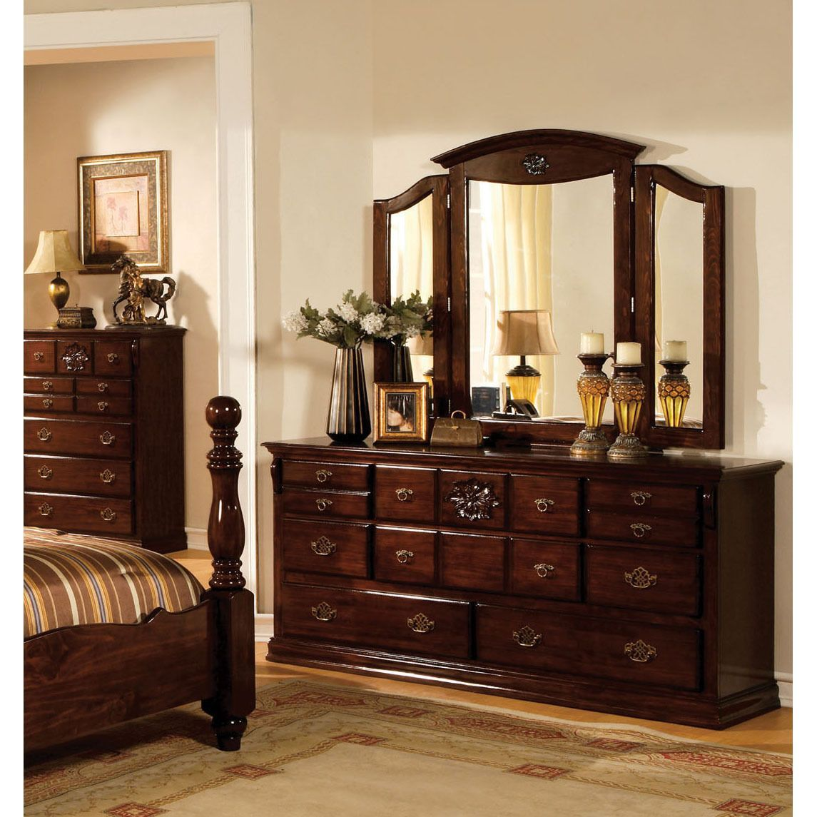 Furniture of america weston traditional piece glossy dark pine