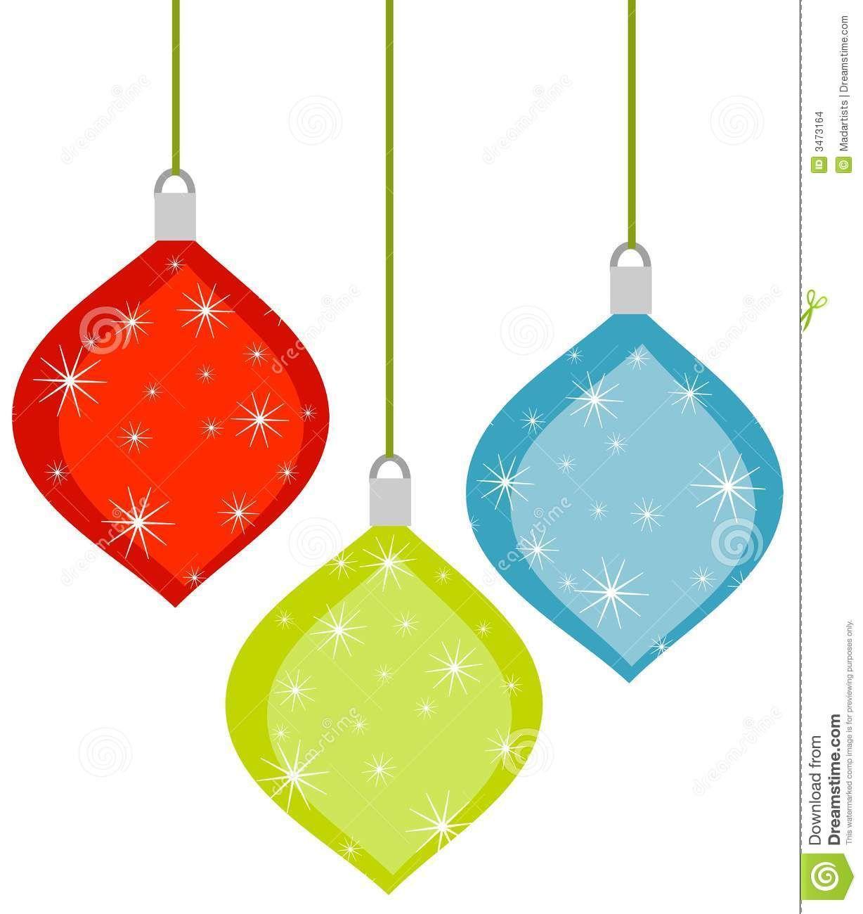 A Clip Art Illustration Of 3 Christmas Ornaments Retro Christmas Christmas Crafts Decorations
