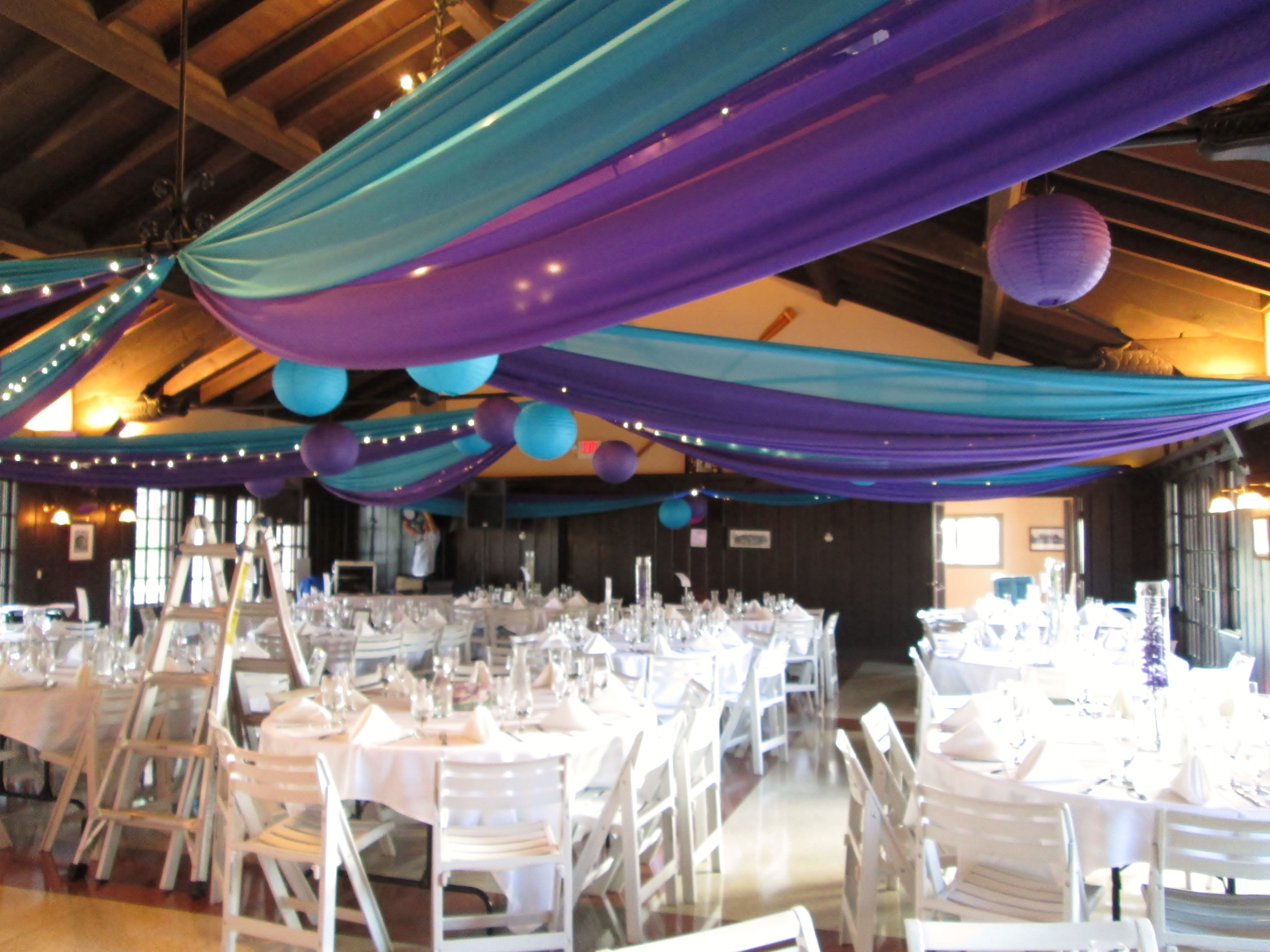 Turquoise & Purple Ceiling Draping, Turquoise & Purple Paper Lanterns  (unlit/floating)