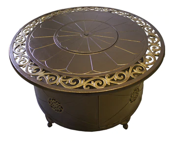 Photo of TFPS Round Cast Aluminum Decorative Bronze Fire Pit Table – TFPS-F-1201-FPT