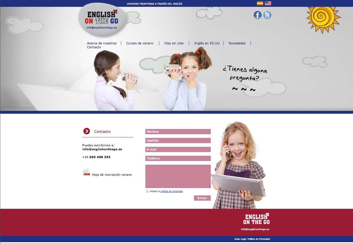 Diseño de la Web de English on the Go