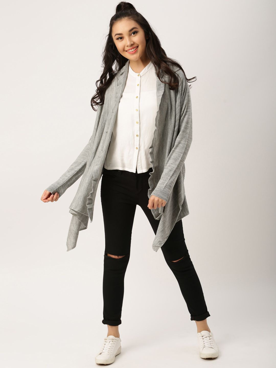 b5c0d9e10 Buy DressBerry Grey Ruffle Shrug online in India at best price.Grey shrug  with ruffle detail, has an open front, long sleeves, dipped hem