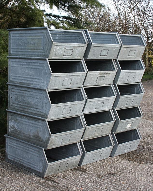 large industrial metal bins
